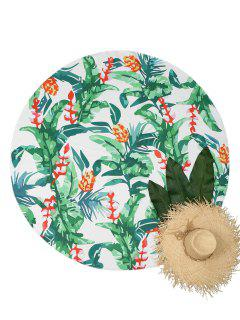 Plant Print Circular Beach Throw