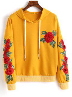 Floral Appliques Drawstring Hoodie - Ginger S