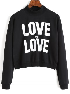 High Neck Letter Graphic Sweatshirt - Black