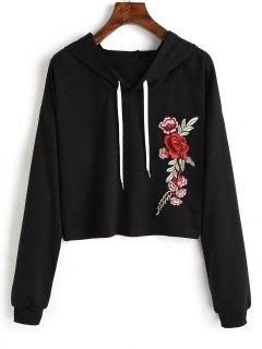 Floral Appliqued Drawstring Hoodie - Black L