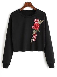 Crew Neck Flower Patchwork Sweatshirt - Black M