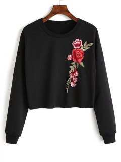Sudadera Con Cuello Redondo Y Remiendo De Flores - Negro S