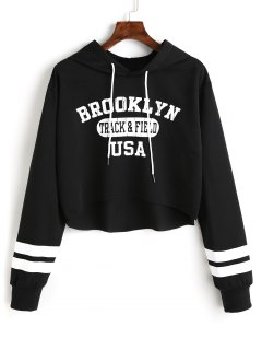 Letter Graphic High Low Hoodie - Black L