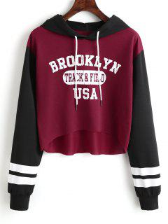 Letter Graphic High Low Hoodie - Deep Red L