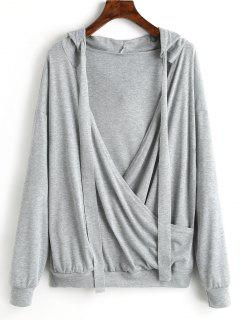 Plunging Neck Plain Drawstring Hoodie - Gray L