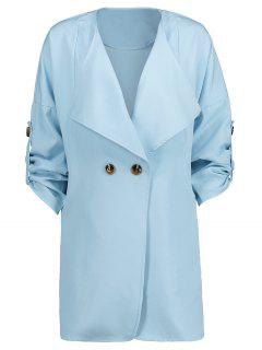 Side Slit One Button Trench Coat - Light Blue Xl