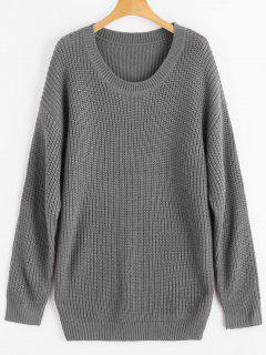 Drop Shoulder Longline Chunky Sweater - Gris