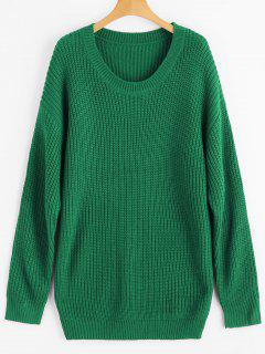 Drop Shoulder Longline Chunky Sweater - Green