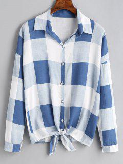 Button Up Bowknot Hem Checked Shirt - Cadetblue