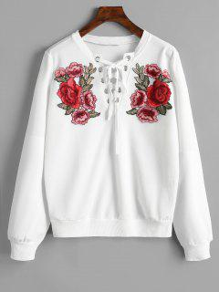 Lace Up Front Floral Patched Sweatshirt
