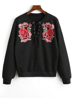 Lace Up Front Floral Patched Sweatshirt - Black Xl