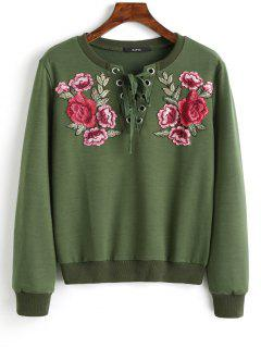 Lace Up Front Floral Patched Sweatshirt - Army Green S