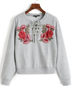 Lace Up Front Floral Patched Sweatshirt - Gray M