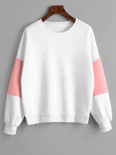 Faux Fur Embellished Puff Sleeve Sweatshirt - White L