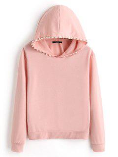 Plain Beading Hoodie - Pink L