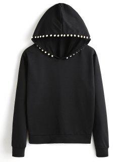 Plain Beading Hoodie - Black S