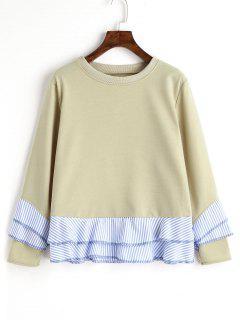 Drop Shoulder Striped Ruffle Hem Sweatshirt - Pea Green L