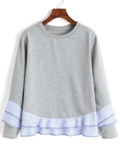 Drop Shoulder Striped Ruffle Hem Sweatshirt - Gray Xl