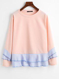 Gestreiftes Sweatshirt Mit Drop-Schulter Und Rüsche-Saum - Orange Pink  S