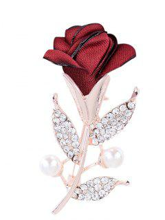 Romantic Rose Rhinestone Embellished Brooch - Bright Red