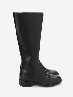 Front Zip PU Leather Low Chunky Heel Boots - Black 36