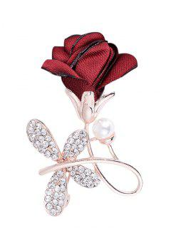 Rhinestone Bowknot Embellished Brooch - Bright Red