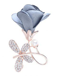 Rhinestone Bowknot Embellished Brooch - Light Blue