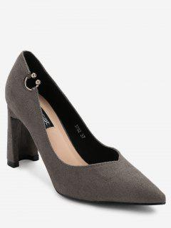 Pointed Toe High Heel Buckled Pumps - Gray 34