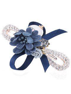 Broche De Diamantes De Imitación Adornado Bowknot - Azul Profundo