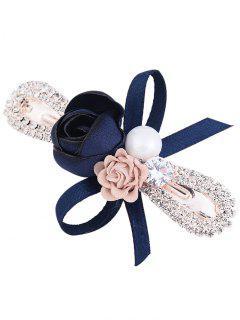Incrustaciones De Diamantes De Imitación Bowknot Adornado Barrette - Azul Profundo