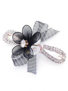 Floral Pétalo Rhinestone Embellecido Barrette - Negro