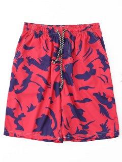 Printed Drawstring Board Shorts - Red L