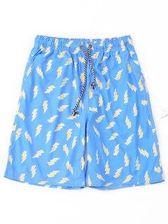 Pantalones Cortos Con Estampado De Rayos - Azur L