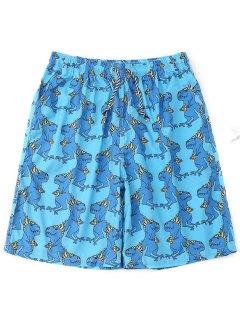 Drawstring Animals Print Board Shorts - Lake Blue 2xl