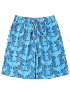 Drawstring Animals Print Board Shorts - Lake Blue M