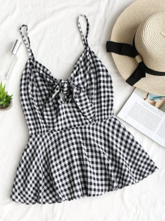 Tied Ruffle Plaid Tank Top - Checked M