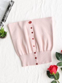 Knitted Button Up Tube Top - Pink
