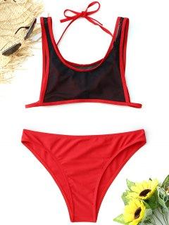 Halter Bralette Mesh Bikini Set - Red M