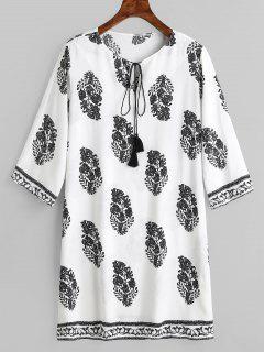 Leaves Print Shift Bowtie Dress - White S