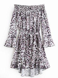 Off Shoulde Flare Sleeve Leopard Belted Dress - Leopard Print L