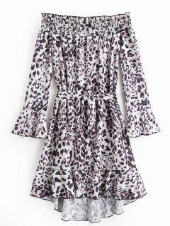Aus Shoulde Flare Sleeve Leopard Kleid Mit Gürtel - Leopard Druck L