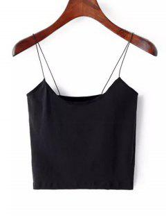 Plain Cropped Spaghetti Strap Tank Top - Black M