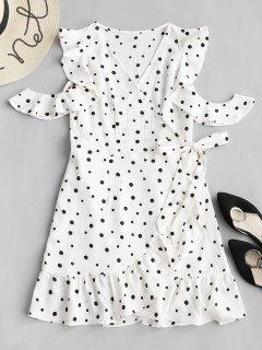 Polka Dot Cold Schulter Rüschen Wrap Minikleid - Weiß S