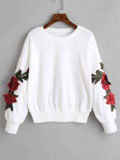Sweat-shirt à Applique Floral à épaules Tombantes - Blanc S