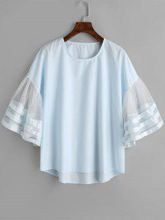 Mesh Panel Flare Sleeve Blouse - Cloudy L