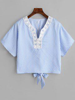 Crochet Panel Notched Striped Blouse - Cloudy S
