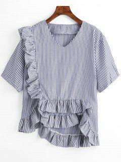 Striped Ruffle Hem Asymmetric Blouse - Purplish Blue L