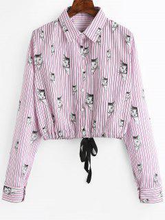 Gestreiftes Katze Crop Shirt - Helles Rosa Xl