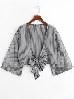 Plunging Neck Striped Tied Blouse - Stripe S