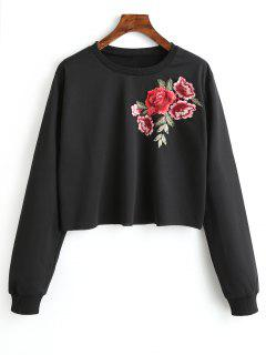 Floral Embroidered Patched Crew Neck Sweatshirt - Black M